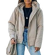 Dokotoo Womens Winter Full Zipper Hooded Puffer Jacket Short Coat with Pockets