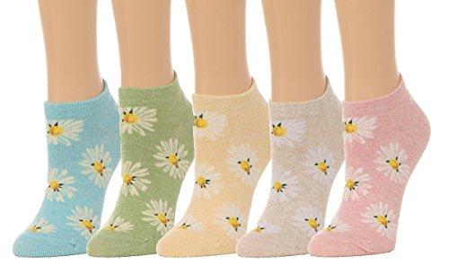 Women's Daisy Flower Print Low Cut Socks - (5 pair set) (One Size(5-8), Multi)