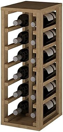 ZonaWine - Resistente Botellero apilable para 12 Botellas en Madera Pino/Roble, Mueble para Vino Cocina o Bodega 65/24/32 cm Fondo - Pino Tintado en Roble