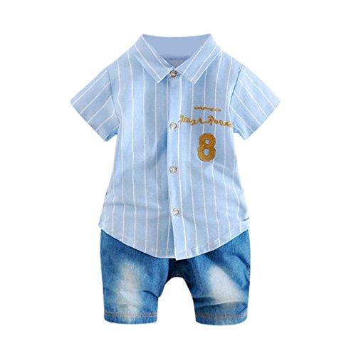Kurzarm Gedruckt Blau2 Tasche Outfits T Hosen Tops 2 Brief Mädchen Kleidung Prevently Stücke Set Shirt Jungen Baby Streifen Kurze xCwUF71q