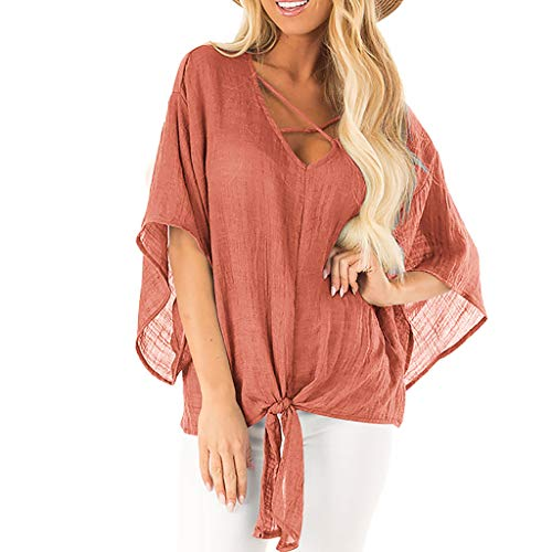 (Pengy Women's Blouse Bat Sleeve Summer Cover Up Shirt Casual T-Shirt Tops Cross Criss T Shirts Tie Front Knot Casual Tops Orange)
