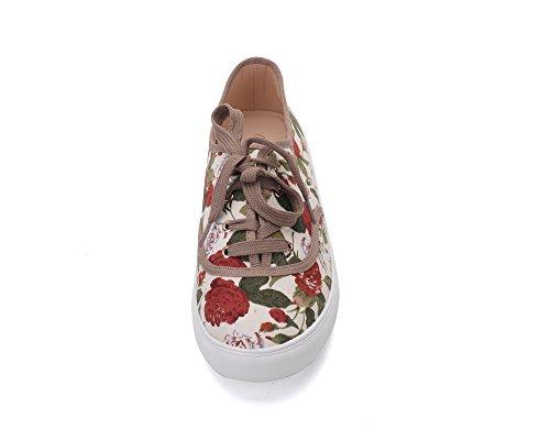 Mila Lady Blythe Women Canvas Floral Lace Up Flat Sneaker Fl/Nude B32oPHV5