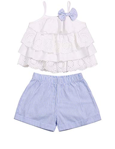 fce6fb4a1 Toddler Baby Girl Clothes Ruffle Cami Top Bowknot White Lace Tank ...