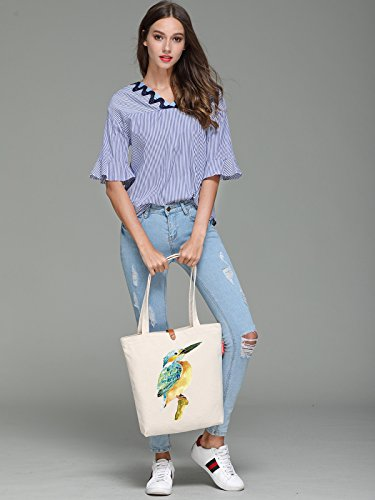So'each Women's Animal Bird Art Graphic Top Handle Canvas Tote Shoulder Bag
