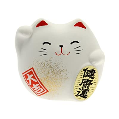 Kotobuki Maneki Neko Charm Kenkoh-un Collectible Figurine, Good Health, White