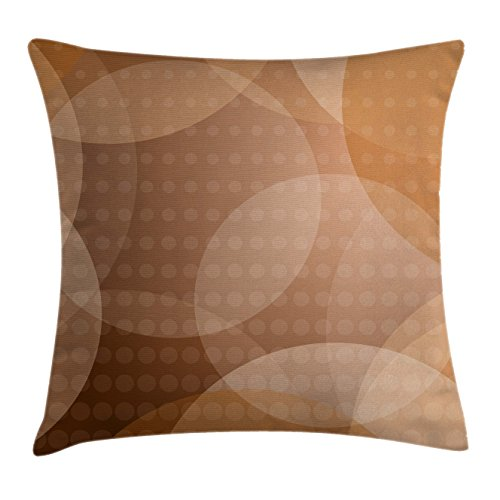 Tan Throw Pillow Cushion Cover by Ambesonne, Overlapping Circles with Big and Small Polka Dots Pattern Gradient Modern Display, Decorative Square Accent Pillow Case, 16 X 16 Inches, Tan Brown White (Circle Pillow Big)