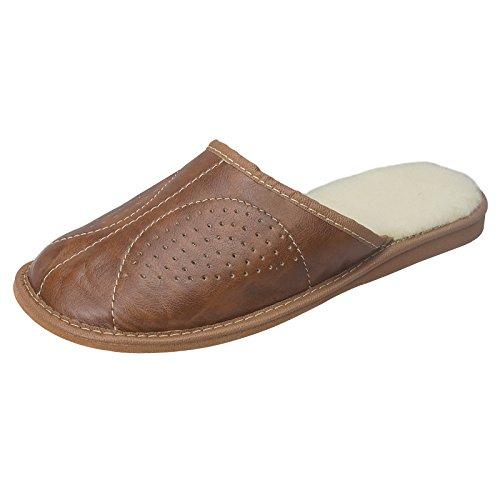 aveego - Zapatillas de estar por casa para hombre Brown (Wool)