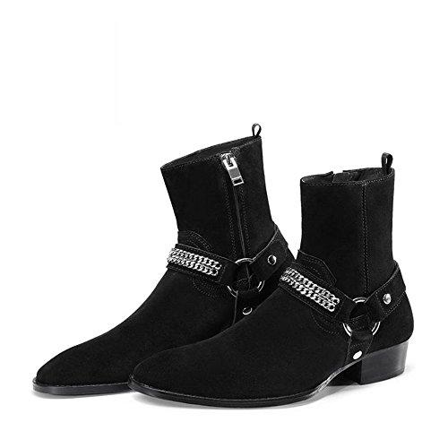 Jinfu Chelsea Botas Hombres Suede Zipper Negro Botas De Vestir Casual Botas De Tobillo Zapatos Formales (us 7.5)