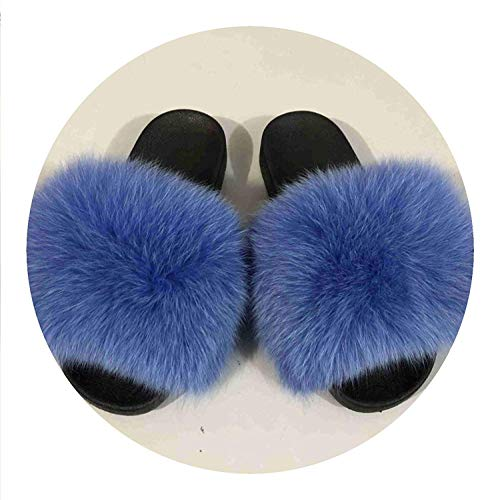 Best Rated for Winter Gift 25 Colors Fox Fur Slides Hair Slippers Fur Sliders Beach Sandal Shoes for Indoor Outdoor,7B(M) US,Oceanblue