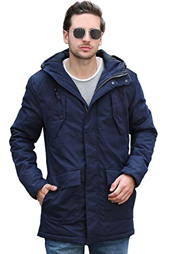 Down Mens Parkas - YsCube Mens Parka Jackets for Men Winter Coats for Men Down Parka Mens Jacket Navy Blue Outerwear Waterproof Outdoor Wear Resistance Casual Parka - XL