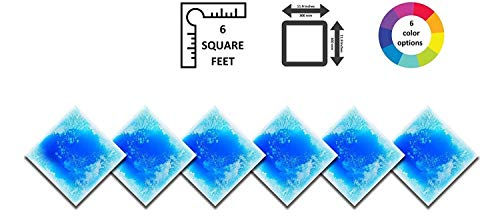 PLAYLEARN Liquid Floor Tile Playroom/Dance Floor/Sensory Room Tile (Blue) 6 Pack (Best Colour Tiles For Kitchen Floor)