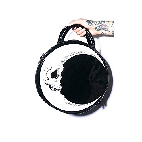 VECANCE Gothic Skull Crescent Moon Shoulder Bag - Steampunk Punk Harajuku Style PU Leather Messenger Bags Tote Handbag