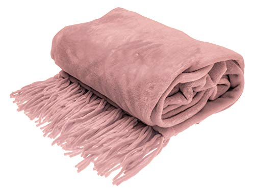 Style Basics Chenille Fringe Sofa Throw - Soft Warm Flannel Plush - for Couch and Sofa (Blush, Fringe Throw 50 X 70)