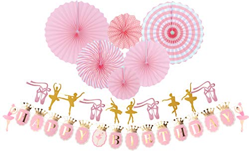 Ballerina Birthday Party | Ballet Dancer Party Supplies Banner| Baby Girl Ballet Happy Birthday Banner| Ballet Girls Dancer Banner Garland for Birthday Party Favors Decoration (Pink)