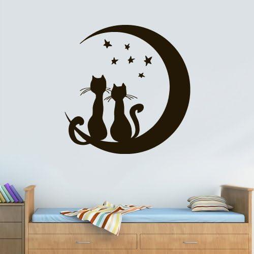 Cats moon and stars wall art sticker