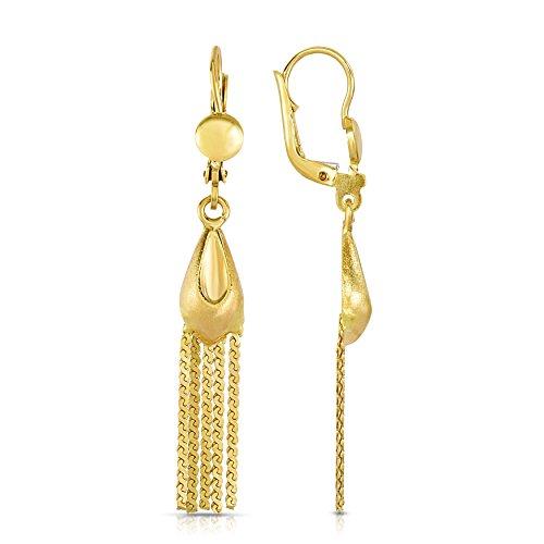 MCS Jewelry 10 Karat Yellow Gold Leverback Drop Dangling Strands Earrings (Length: 47 mm) ()