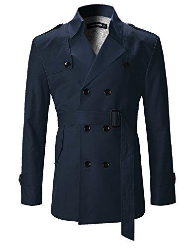 FLATSEVEN Mens Slim Fit Designer Casual Trench Coat (CT201) Navy, S