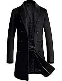 """<span class=""""a-offscreen"""">[Sponsored]</span>Men's Premium Double Breasted Woolen Pea Coat Notched Collar Overcoat"""