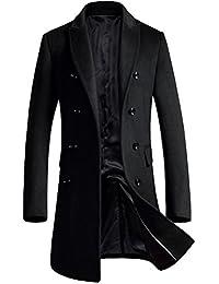 Mordenmiss Men's Premium Pea Coat Double Breasted Woolen Notched Collar Overcoat