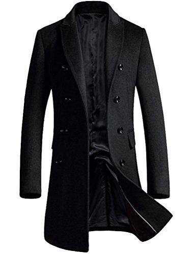 Mordenmiss Men's Premium Double Breasted Woolen Pea Coat Notched Collar Overcoat Black L