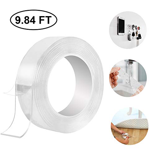WOVTE Washable Double Sided Adhesive Tape, Multifunctional Reusable Gel Pads, Traceless Anti-Slip Carpet Tape for Fixing Carpet Phones Pictures Pen Key Household Industrial Use