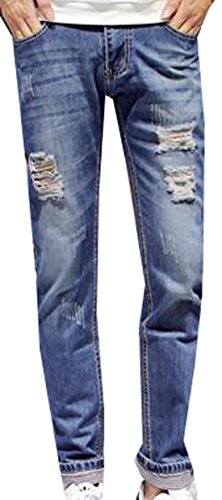 SKYLINEWEARS Mens Casual Printed Washed Denim Fashion Cotton Pants Trousers