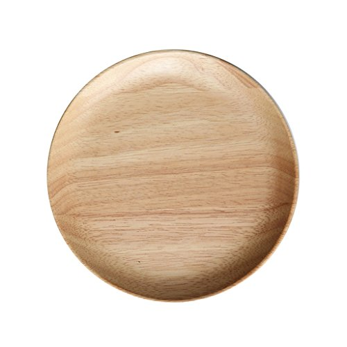 Plate Wooden Household Disc Fruit Plate, Kitchen Wooden Plate Salad Plate, Rubber Wood Dessert Plate Dishware (Color : Wood color, Size : 20202.4cm)
