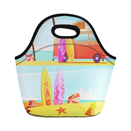 (Semtomn Neoprene Lunch Tote Bag Surfing Bus Ready for Trip and Surfboards on Beach Reusable Cooler Bags Insulated Thermal Picnic Handbag for Travel,School,Outdoors, Work)