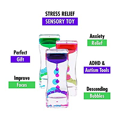 Liquid Motion Bubbler Sensory Toys – 5 Pc Set Bundle Stretchy String Fidget Toys Timer for Stress Relief and Anxiety Relief Great for Toddler, Children, Kids, Adults, Seniors, ADHD Autism ADD Figit: Toys & Games