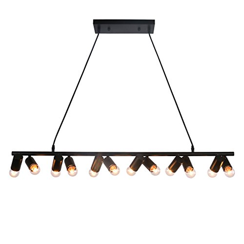 Unitary Brand Modern Black Metal Linear Dining Room Island Light with 12 E26 Bulb Sockets 480W Painted ()