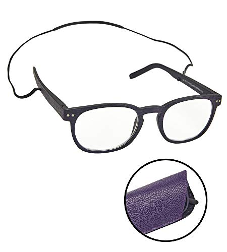 Hollywood Reading Glasses - Reading Glasses for Men & Women with Removable Cord - Prescription Readers with Durable TR90 Thermoplastic Frames & Integrated Silicone Chain - Purple and Black Fashion Reader Glass| +400 Strength