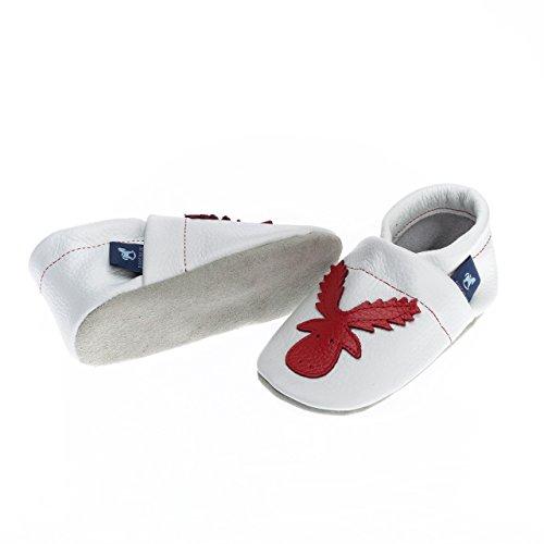 100 Lederpuschen Elch Weiss Lauflernschuhe Krabbelschuhe mit Babyschuhe Rot Leder pantau Leder Op70PP