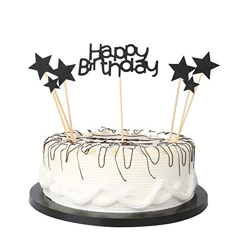 YUINYO Black Glitter Pentacle Pentacle Cake Toppers First Happy Birthday Cupcake Topper Cake Smash Candle Alternative Party Handmade With the Best Quality]()
