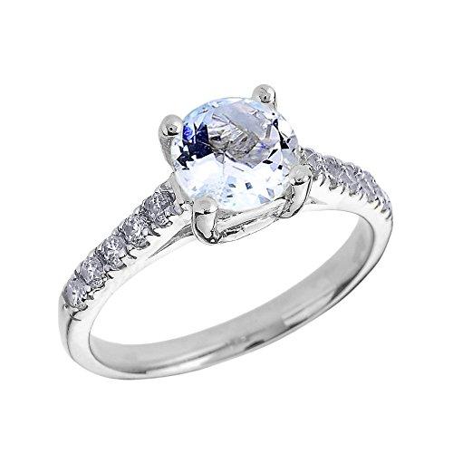 Bague Femme/ Bague De Fiançailles 14 Ct Or Blanc Diamant Et Aquamarine Solitaire