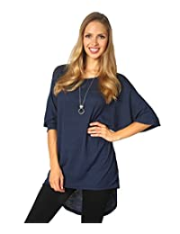 KRISP Women Oversized Shiny Long Batwing Sleeve Tunic Top