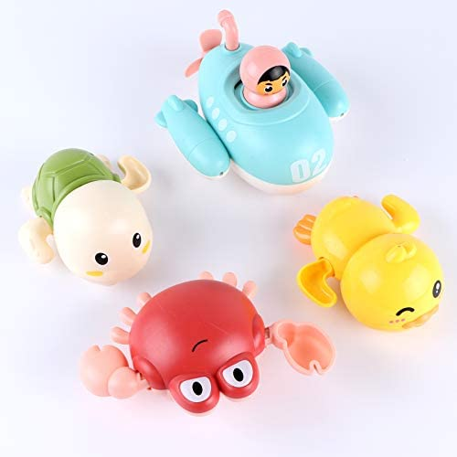Baby Bath Toys Bathtub Swimming Floating Toys Duck, Crab, Turtle, Submarine 4PCS Set Pool Beach Water Play Toys For 1 To 4 Years Old Children Kids Toddlers
