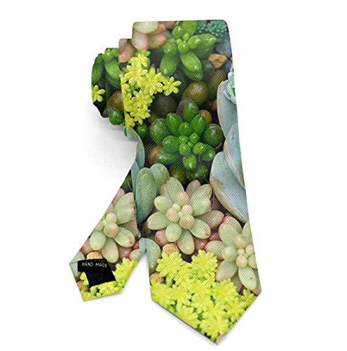 Necktie Gift Fashion Silk Ties for Men Teen Boys Miniature Succulent Plants