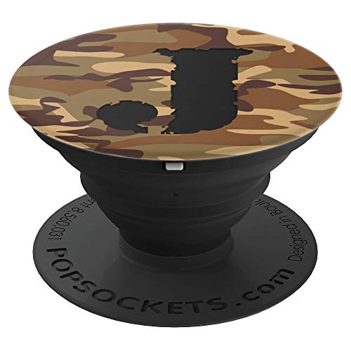 Initial Letter J Monogram Brown Army Camouflage Camo Pattern - PopSockets Grip and Stand for Phones and -