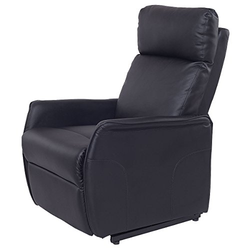 Lift Chair Recliner Sofa Electric Power PU Leather Padded Seat Living Room Black