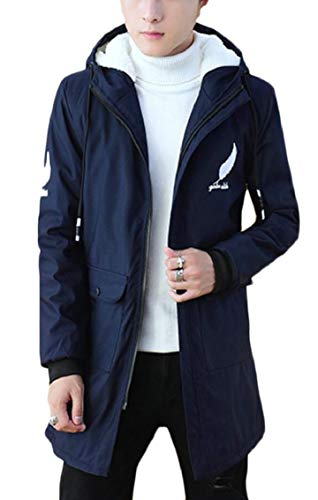 Up Allineato Blu Pile Hoodie Addensare Casuale Outwear Cappotto Sottile Uomini Navy Degli Zip Gocgt Iqp8Fq7xw