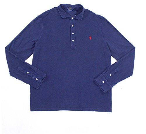 Polo Ralph Lauren Navy Mens Logo Mesh Polo Shirt Blue - Polo Shipping Free