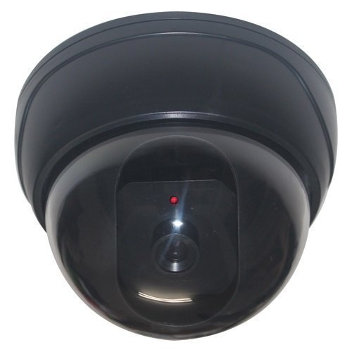 Fake Imitation Security Camera with Flashing Light LED Cost-effective Security CCTV Simulated Dome Camera ()
