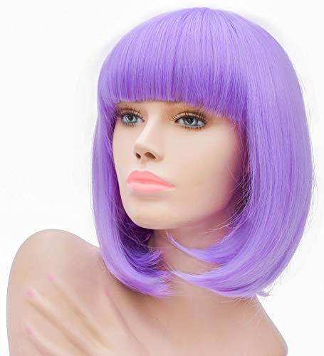 Daiqi Lavender Purple Short Bob Wig for Women 12'' Heat Resistant Synthetic Straight Wigs with Bangs Halloween Cosplay Party Wig Natural As Real Hair Lavender Purple Wig for Women -