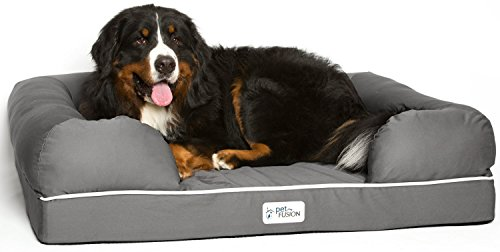 PetFusion Ultimate Solid 4″ WATERPROOF Memory Foam Dog Bed for X Large Dogs (44x34x10″ orthopedic mattress; Gray). Replacement covers & blankets also avail