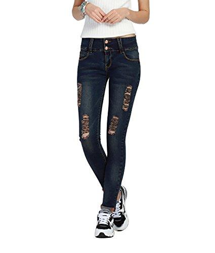Jeans Micro grande Femmes taille Blue Extensible lastique Black dchir crayon Haute Mena Eg06fqFE