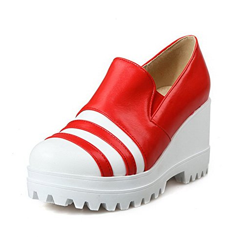 AllhqFashion Damen Weiches Material Rund Zehe Hoher Absatz Ziehen auf Pumps Schuhe Rot