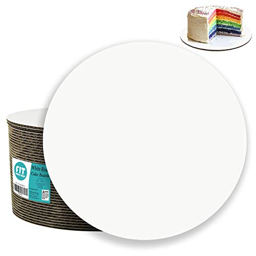 - [20 Pack] 6 Inch Round Cake Boards - Grease Proof Cardboard Disposable Cake Pizza Circle Scalloped White Tart Decorating Base Stand