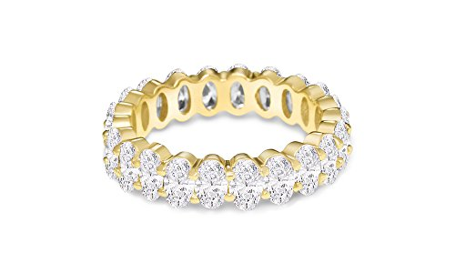 NYC Sterling Women's .925 Silver Cubic Zirconia 5x3mm Oval-Cut Eternity Band Ring (Gold-Plated-Silver, 9)