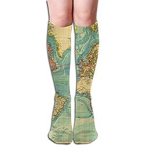 mfsore – Calcetines deportivos para hombre y mujer, diseño de mapamundi, 19,7 pulgadas