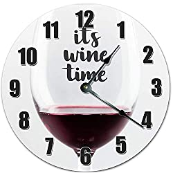 Fancy This 10.5 ITS Wine TIME in A Wine Glass Clock - Rec Room Clock - Large 10.5 Wall Clock - Home Decor Clock - 10016